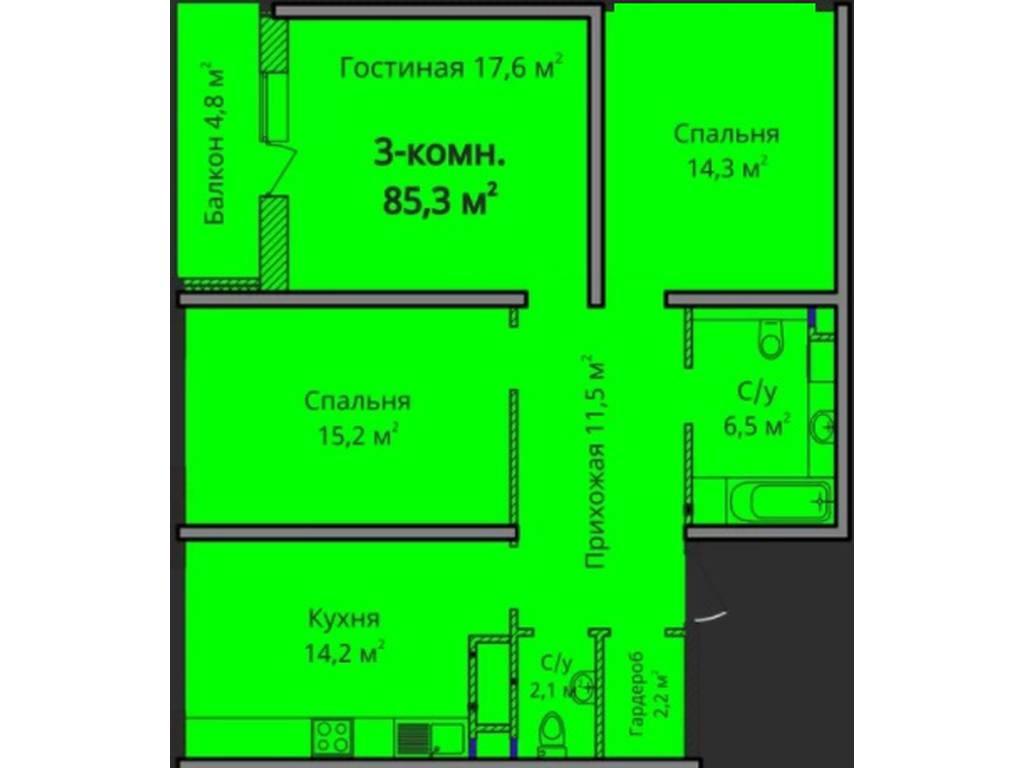 3-комнатная квартира, 85.30 м2, 71000 у.е.
