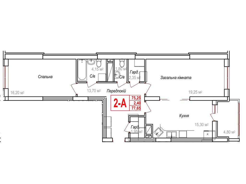 2-комнатная квартира, 77.65 м2, 69885 у.е.