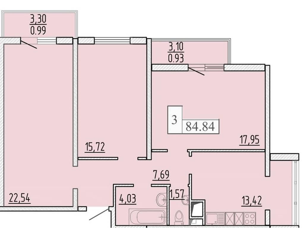 4-комнатная квартира, 82.92 м2, 55570 у.е.
