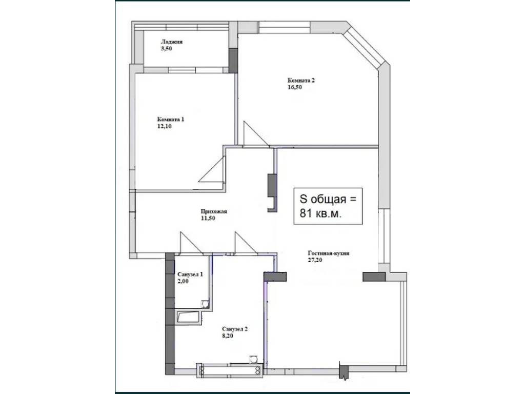 3-комнатная квартира, 81.00 м2, 48500 у.е.