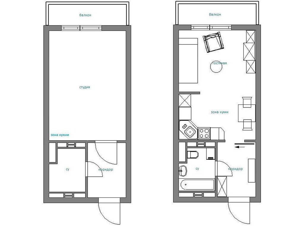 1-комнатная квартира, 23.10 м2, 41200 у.е.