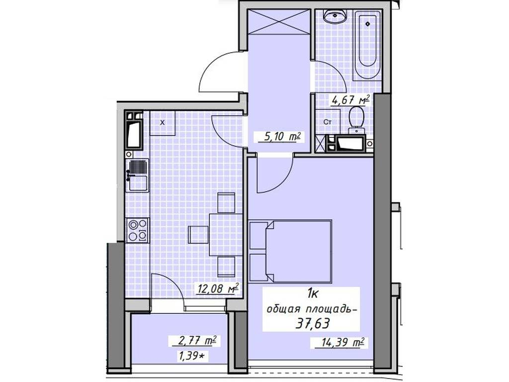 1-комнатная квартира, 37.63 м2, 35500 у.е.