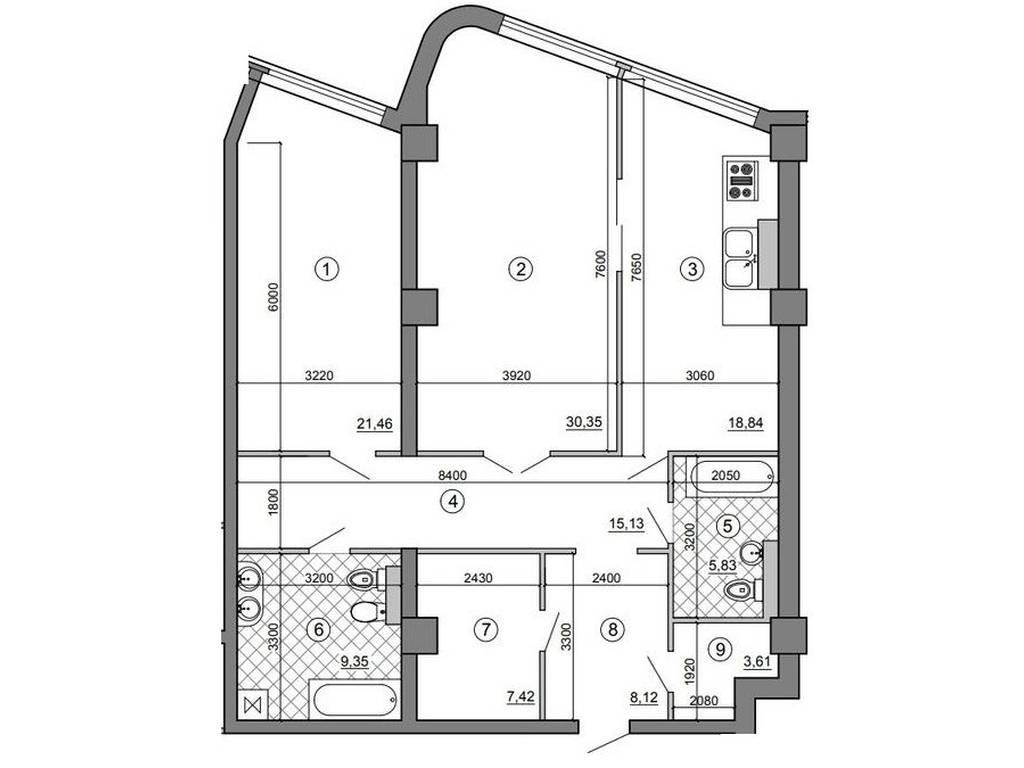 3-комнатная квартира, 115.00 м2, 211400 у.е.
