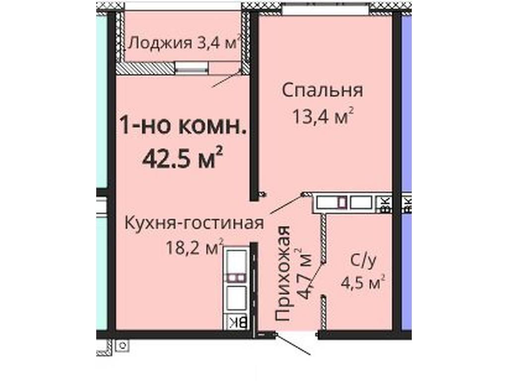 1-комнатная квартира, 43.00 м2, 41500 у.е.