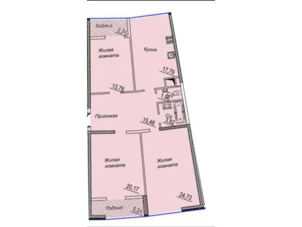 3-комнатная квартира, 104.00 м2, 123000 у.е.
