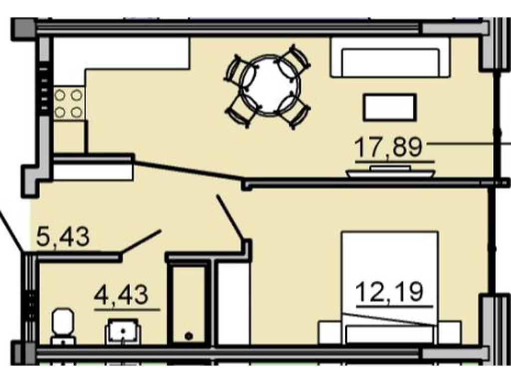 1-комнатная квартира, 41.10 м2, 47250 у.е.