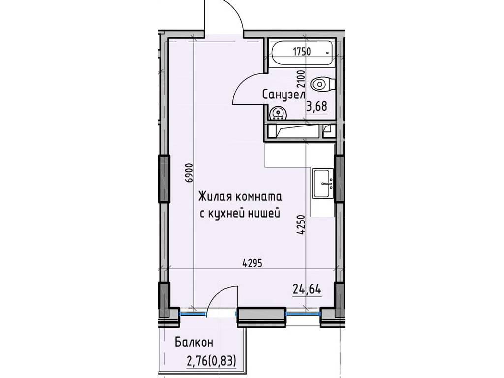 1-комнатная квартира, 29.15 м2, 26177 у.е.