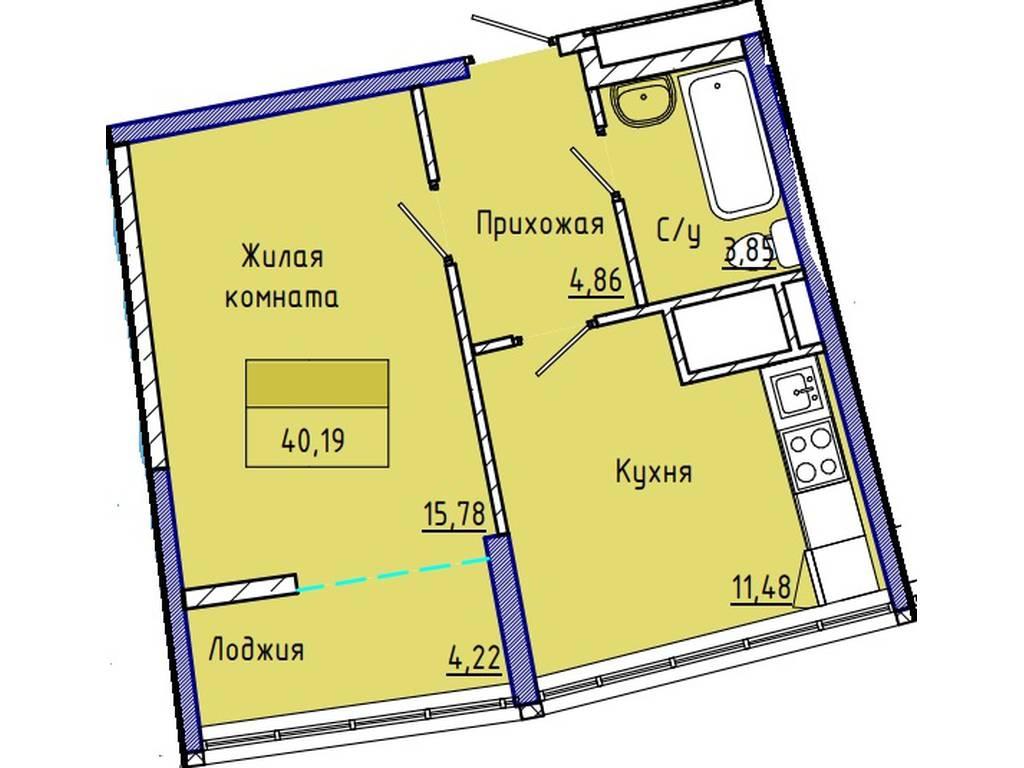 1-комнатная квартира, 40.00 м2, 46000 у.е.