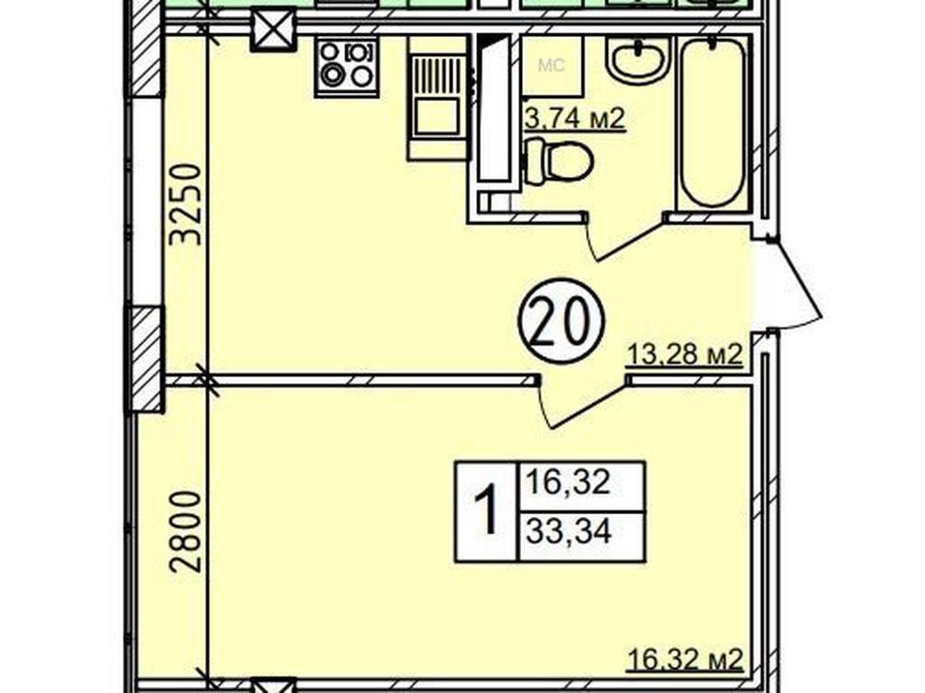 1-комнатная квартира, 34.50 м2, 33500 у.е.