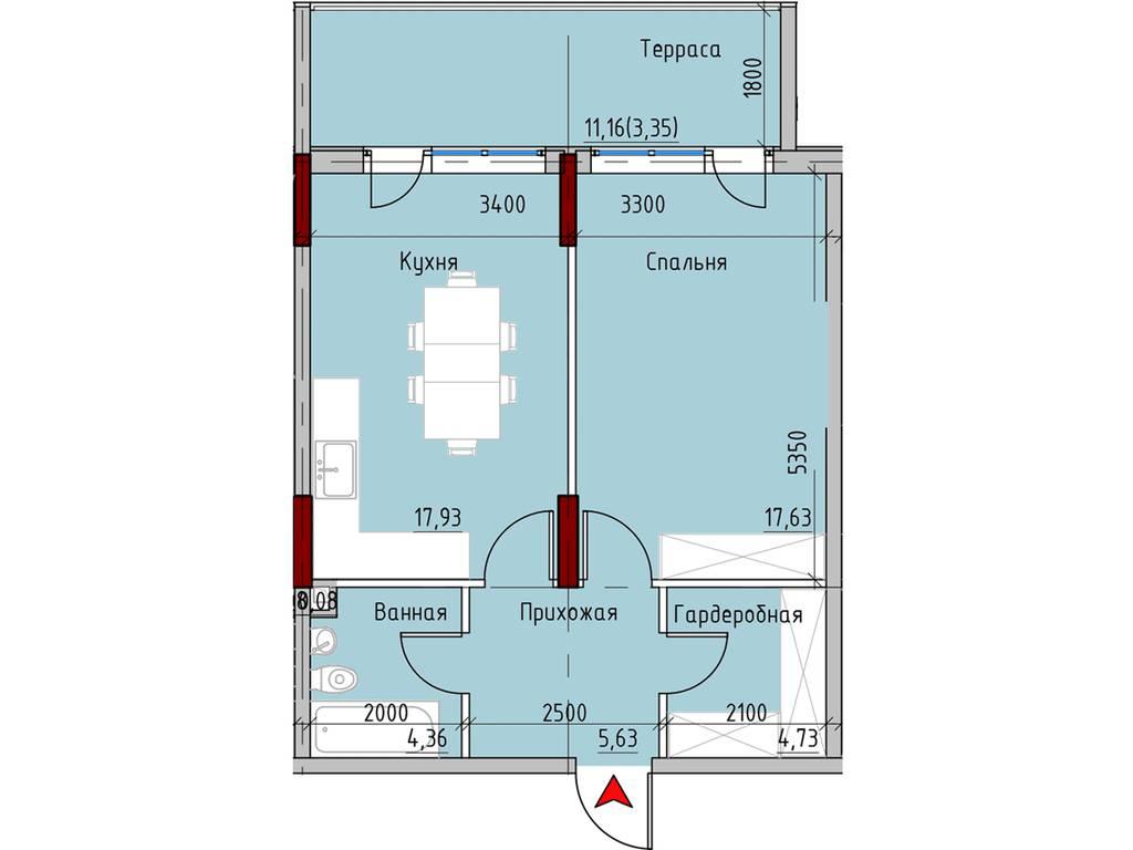 1-комнатная квартира, 55.80 м2, 64170 у.е.