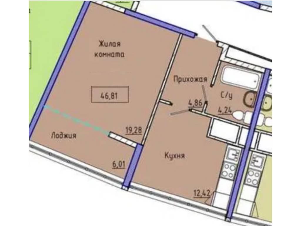 1-комнатная квартира, 47.00 м2, 53000 у.е.