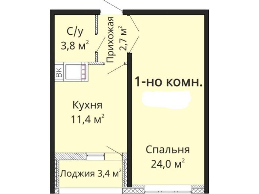 1-комнатная квартира, 45.00 м2, 40000 у.е.