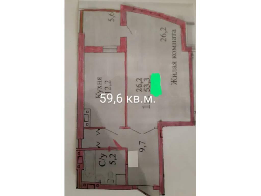 1-комнатная квартира, 59.60 м2, 35900 у.е.