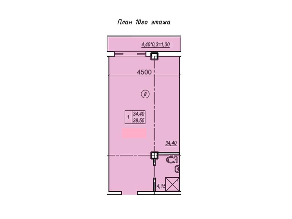 1-комнатная квартира, 38.40 м2, 52000 у.е.