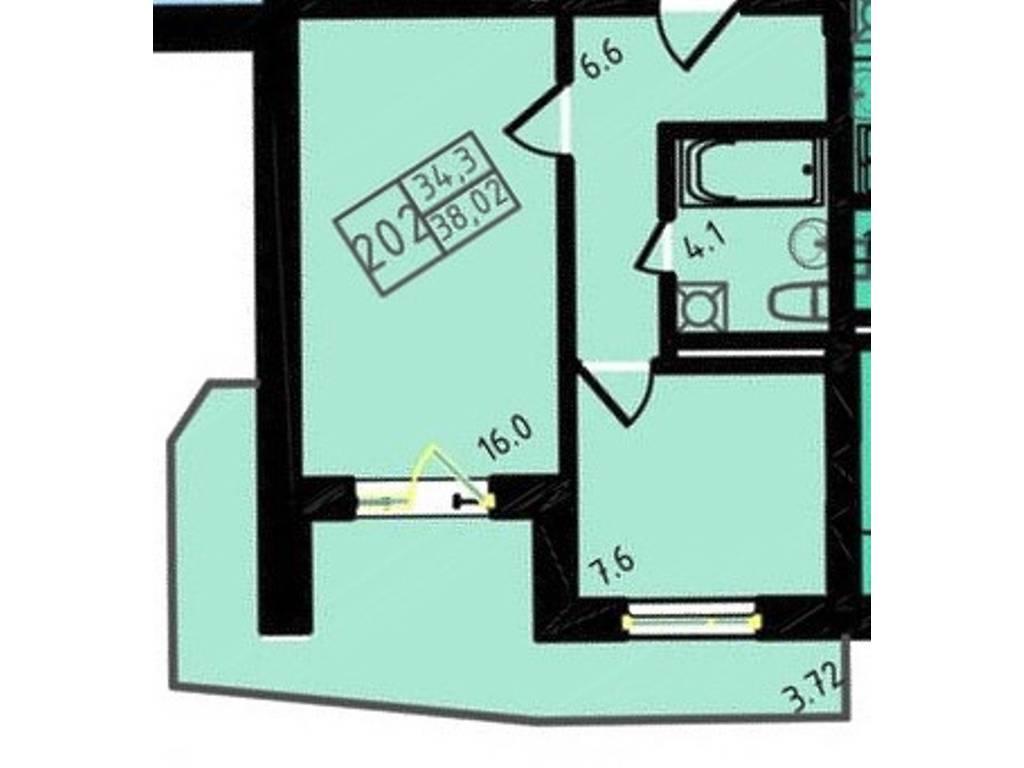 1-комнатная квартира, 38.02 м2, 35168 у.е.