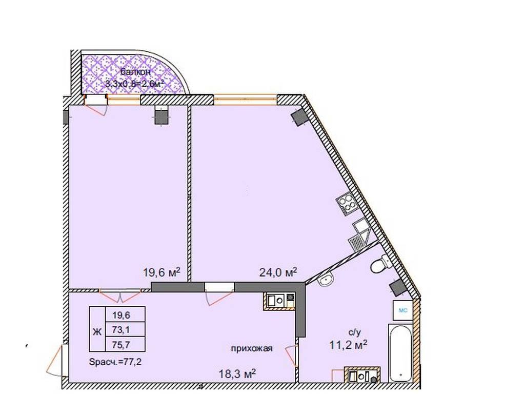 2-комнатная квартира, 76.00 м2, 63500 у.е.