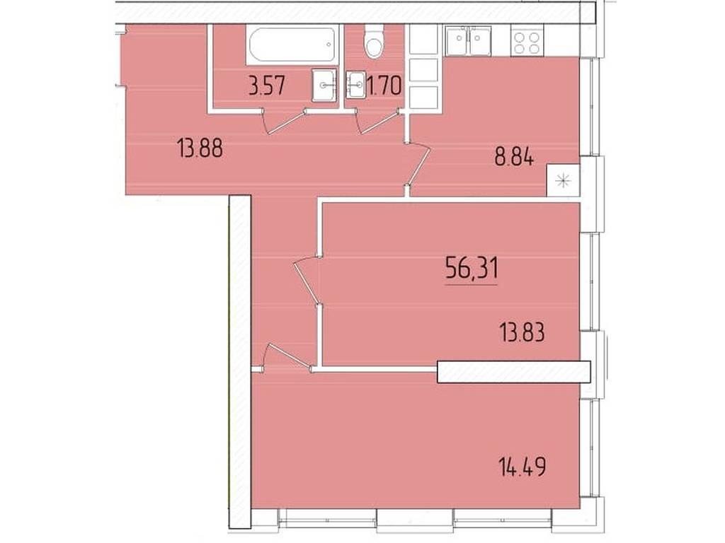 2-комнатная квартира, 56.31 м2, 46005 у.е.