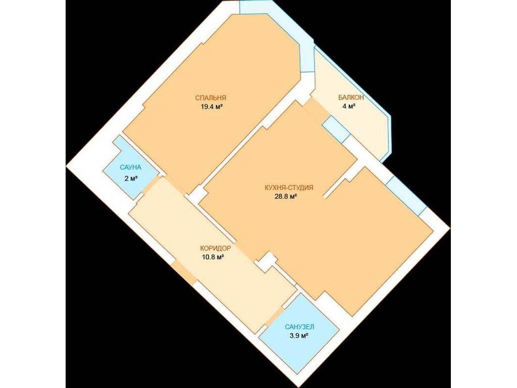 2-комнатная квартира, 64.40 м2, 72000 у.е.