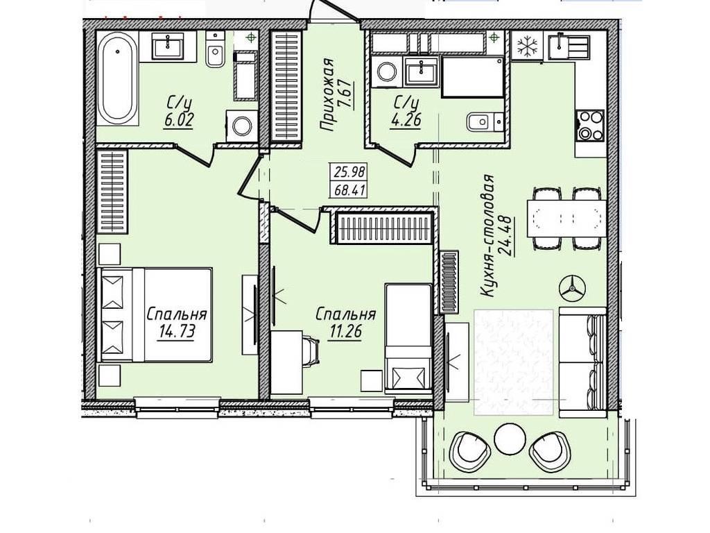 2-комнатная квартира, 68.50 м2, 58225 у.е.