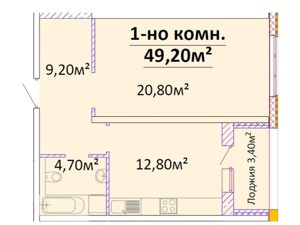 1-комнатная квартира, 49.20 м2, 60000 у.е.