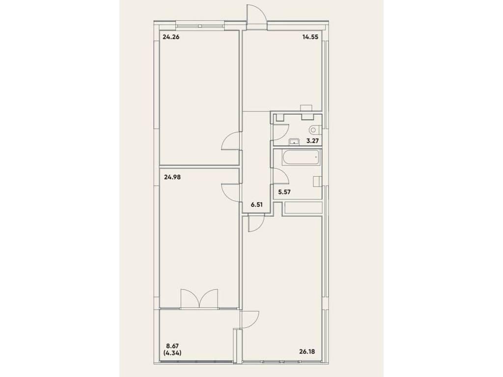 2-комнатная квартира, 109.64 м2, 155415 у.е.