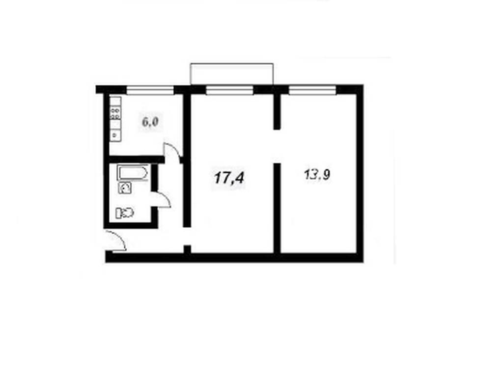 2-комнатная квартира, 44.00 м2, 40500 у.е.