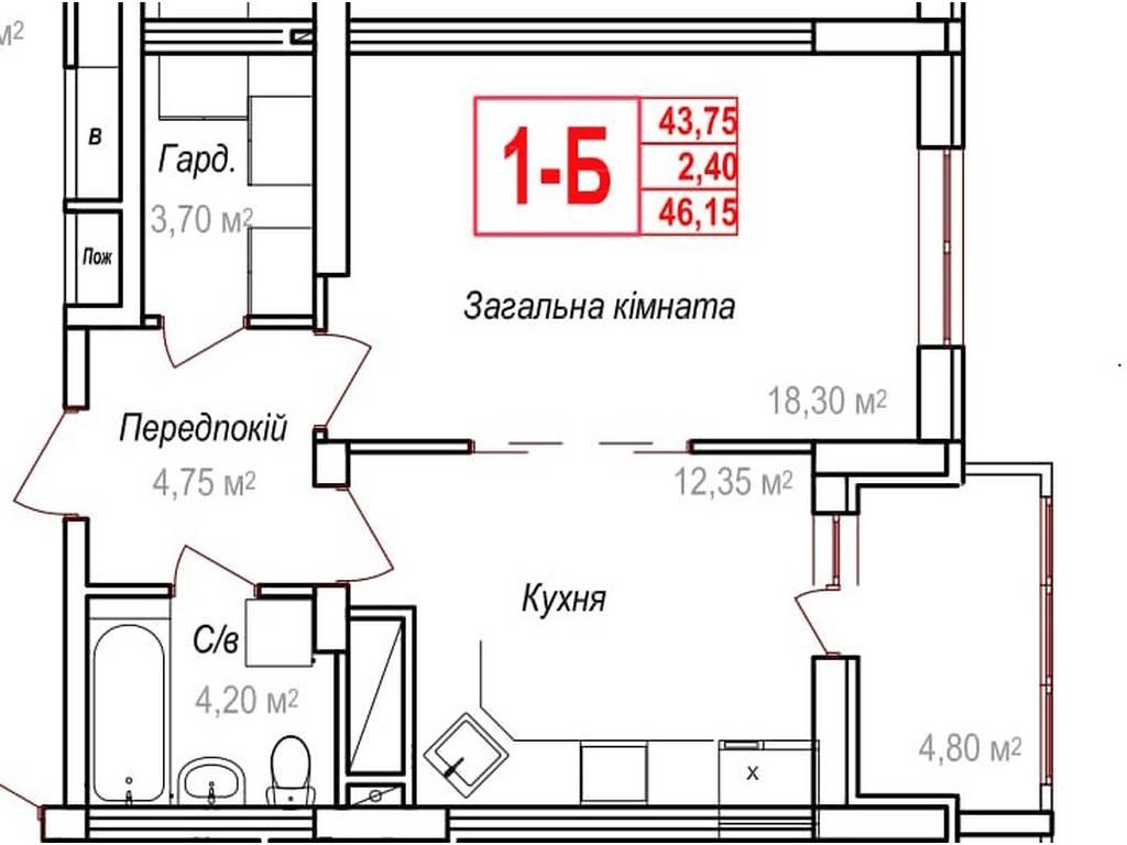 1-комнатная квартира, 46.15 м2, 41535 у.е.