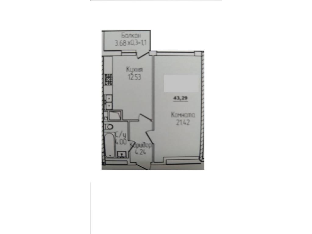 1-комнатная квартира, 43.00 м2, 71500 у.е.