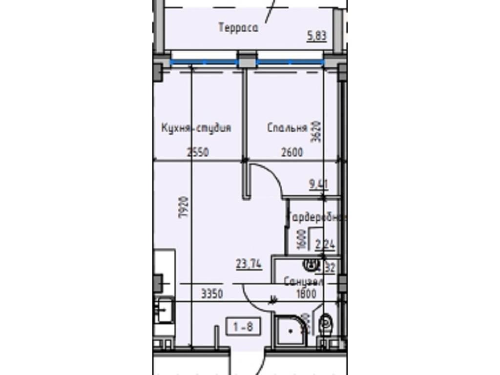 1-комнатная квартира, 41.80 м2, 41400 у.е.