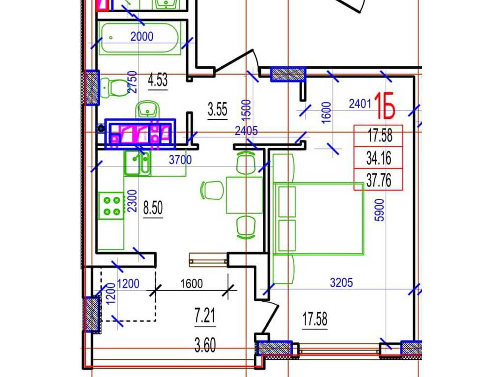 1-комнатная квартира, 38.37 м2, 24557 у.е.