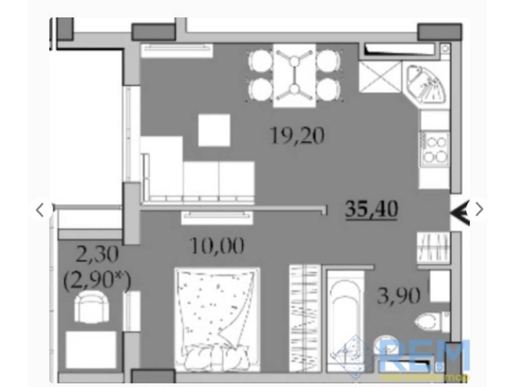 1-комнатная квартира, 35.40 м2, 23500 у.е.