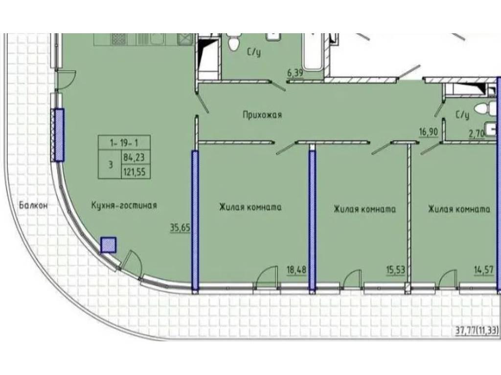 3-комнатная квартира, 121.55 м2, 210000 у.е.