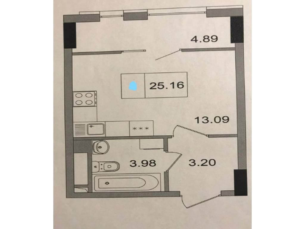1-комнатная квартира, 25.00 м2, 22500 у.е.