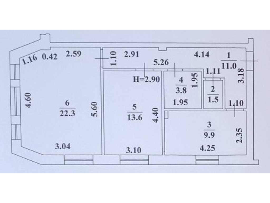 2-комнатная квартира, 62.10 м2, 55890 у.е.