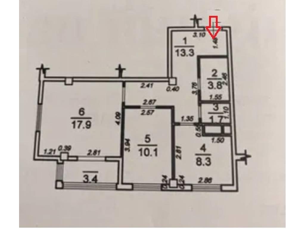 2-комнатная квартира, 58.50 м2, 43500 у.е.