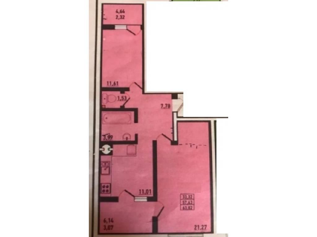 2-комнатная квартира, 68.60 м2, 43900 у.е.