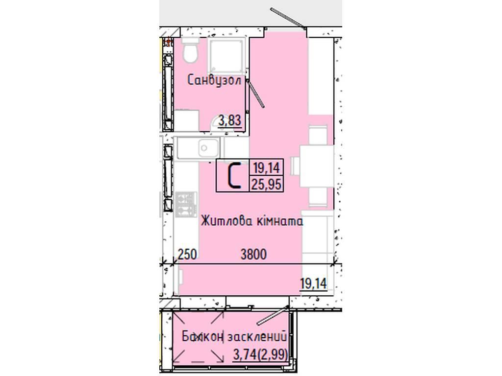 1-комнатная квартира, 25.95 м2, 18295 у.е.