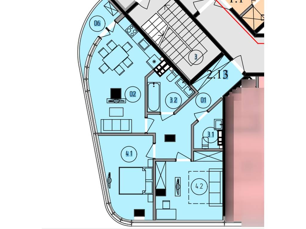 1-комнатная квартира, 68.10 м2, 99900 у.е.