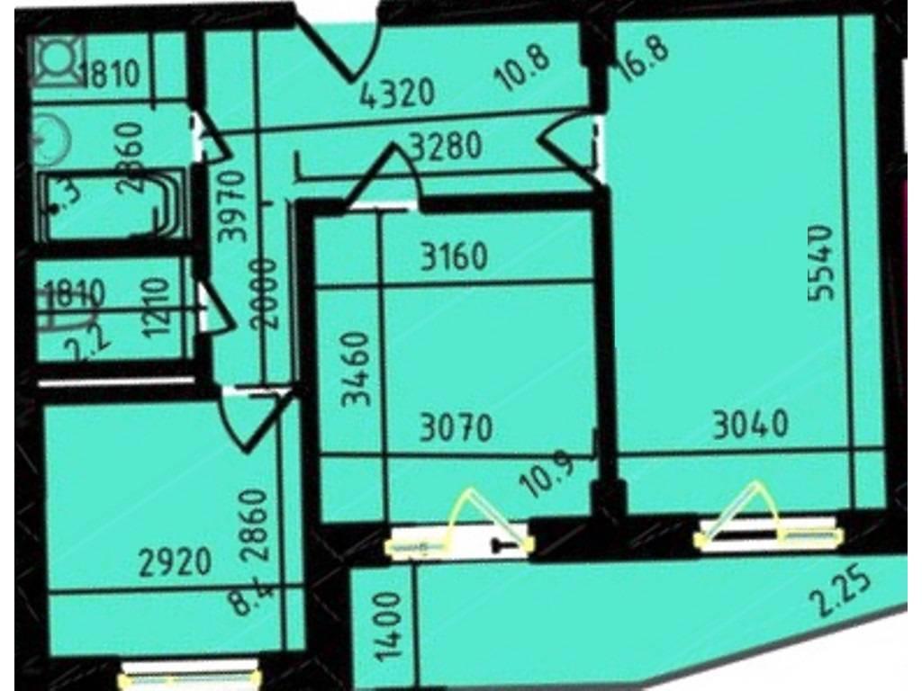 2-комнатная квартира, 55.56 м2, 51476 у.е.