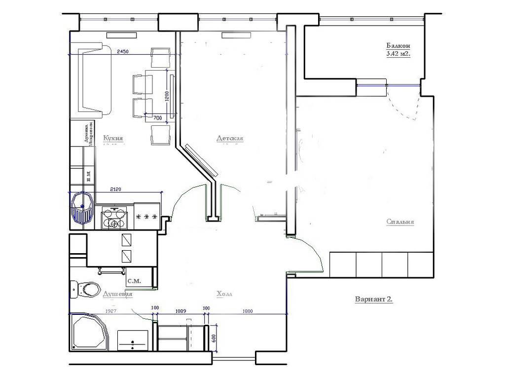2-комнатная квартира, 51.00 м2, 69900 у.е.