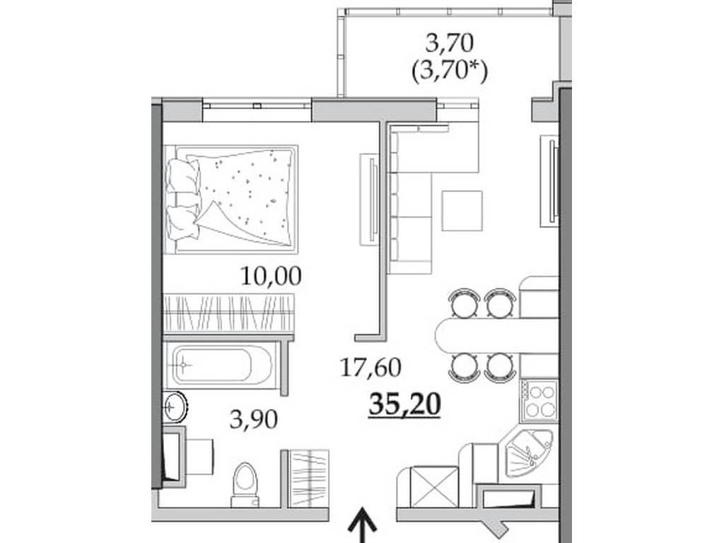 1-комнатная квартира, 35.20 м2, 27808 у.е.