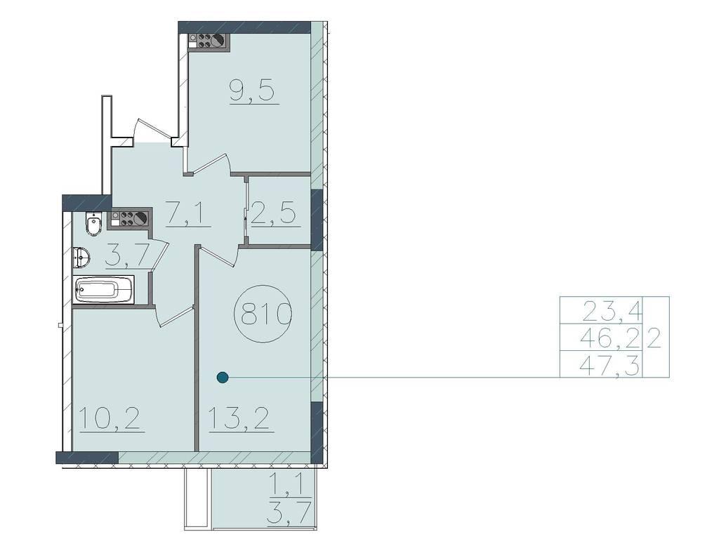 2-комнатная квартира, 47.30 м2, 39732 у.е.