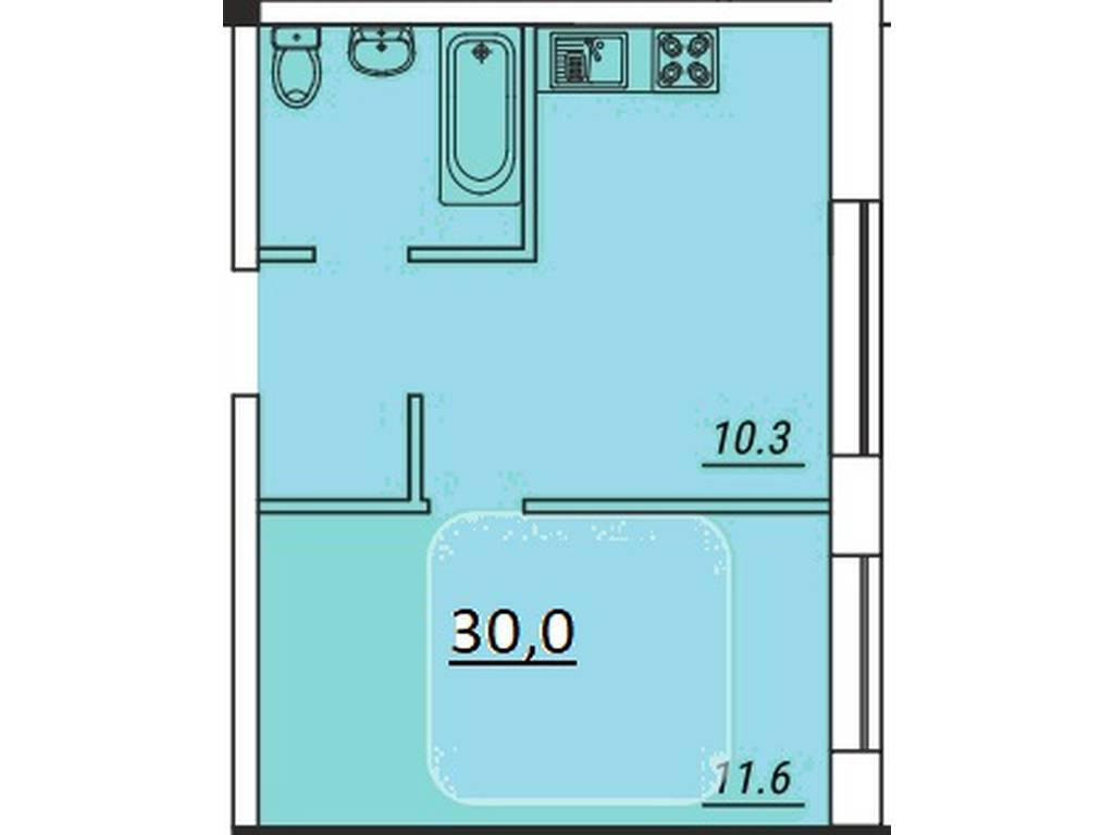 1-комнатная квартира, 30.00 м2, 43500 у.е.