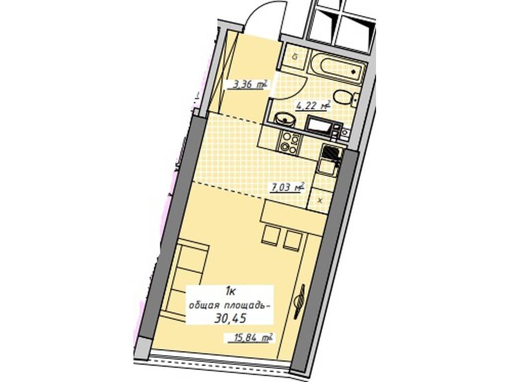1-комнатная квартира, 30.45 м2, 27921 у.е.