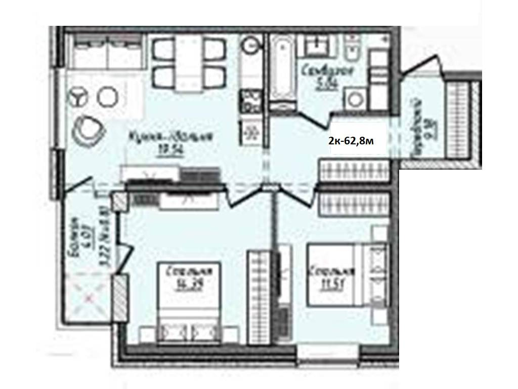 2-комнатная квартира, 62.80 м2, 50240 у.е.