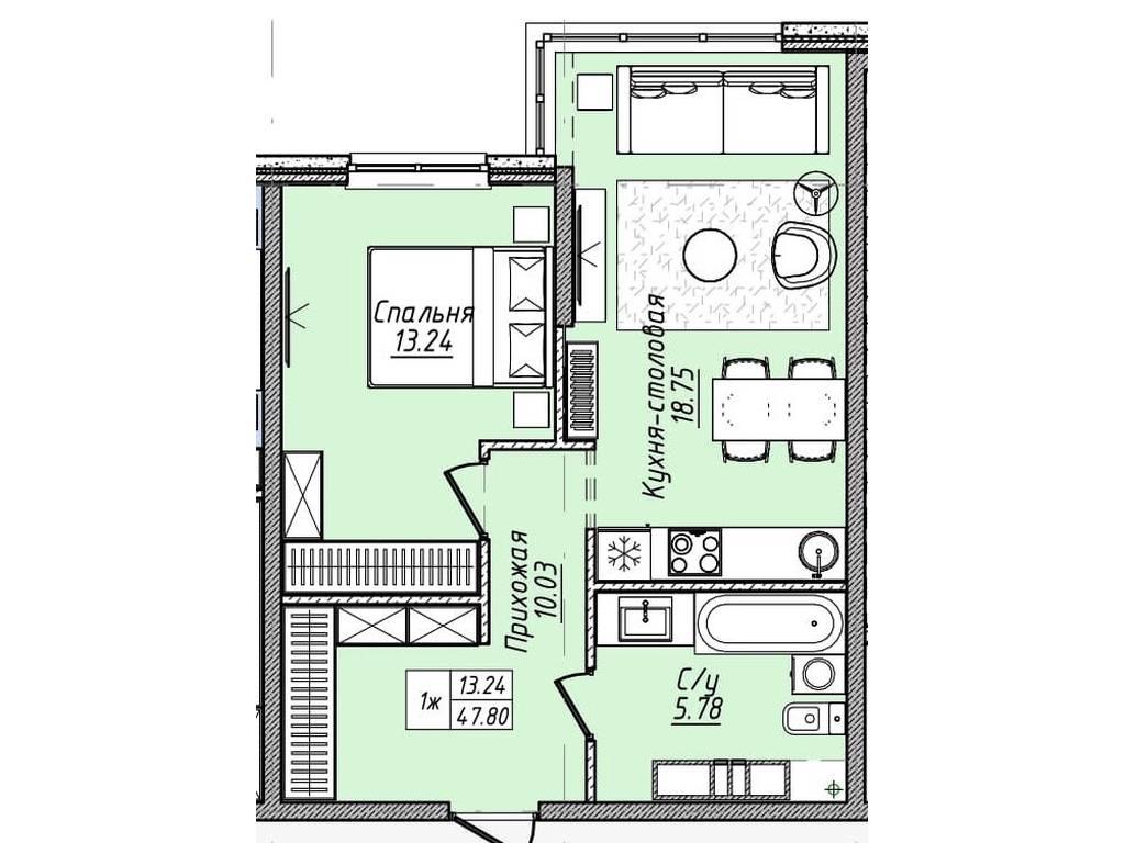 1-комнатная квартира, 47.80 м2, 52580 у.е.