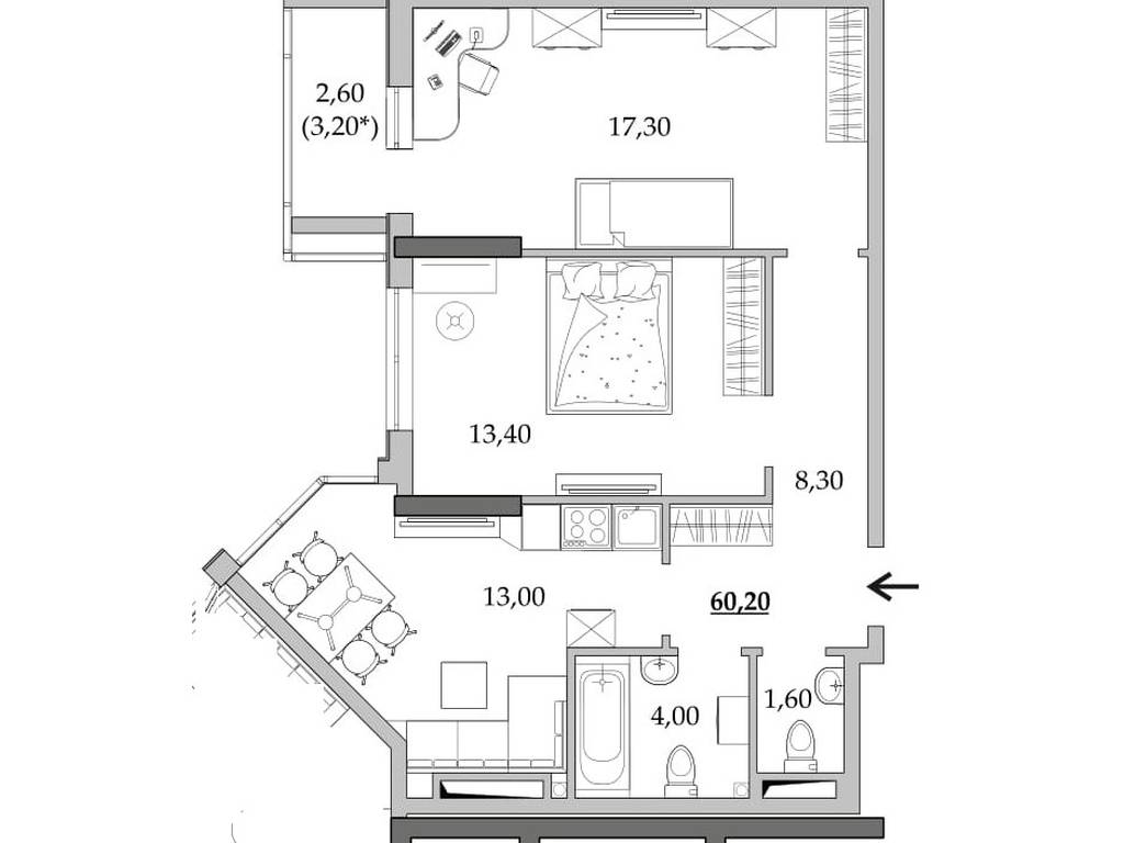 2-комнатная квартира, 60.20 м2, 36120 у.е.