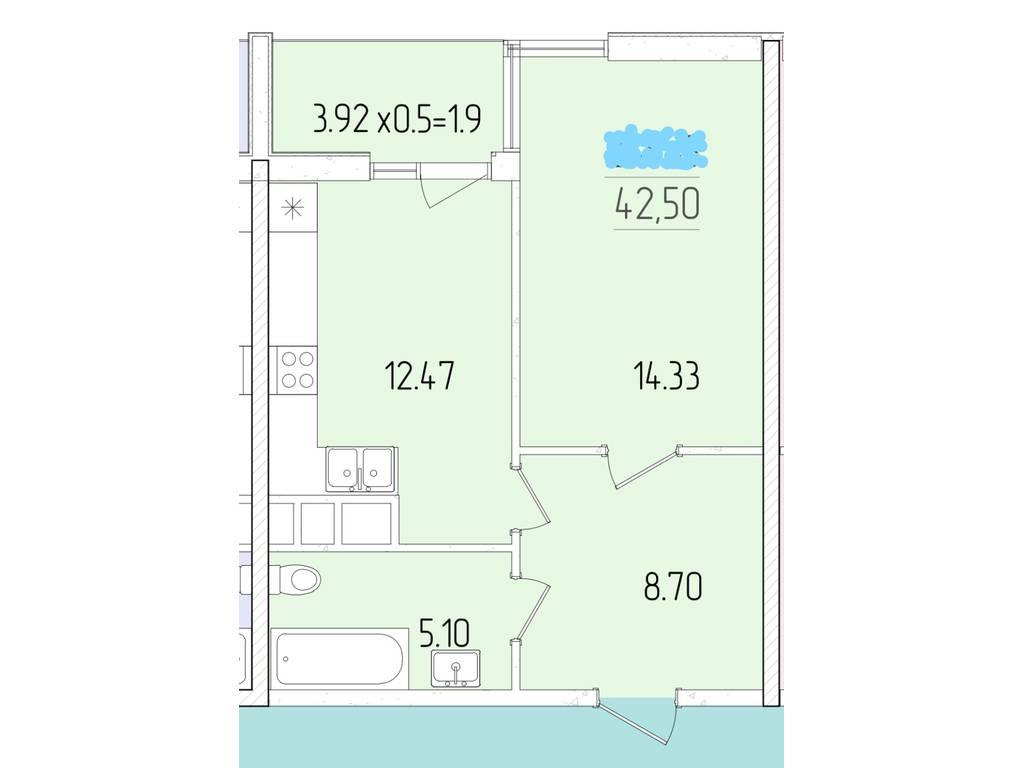 1-комнатная квартира, 41.00 м2, 37700 у.е.