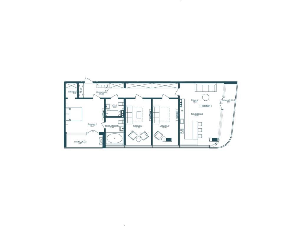 3-комнатная квартира, 130.25 м2, 228915 у.е.