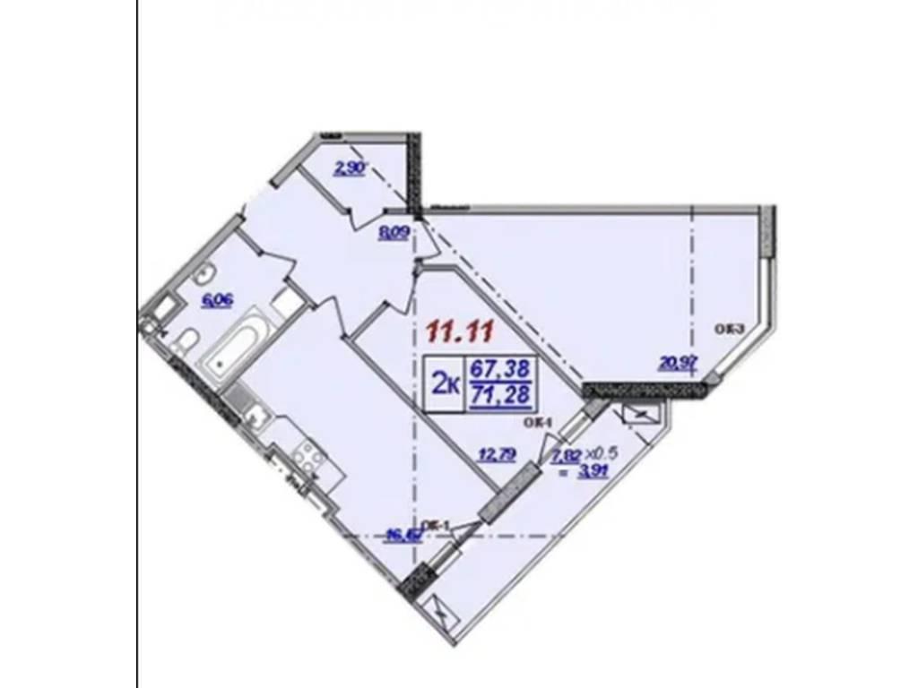 2-комнатная квартира, 71.28 м2, 77000 у.е.